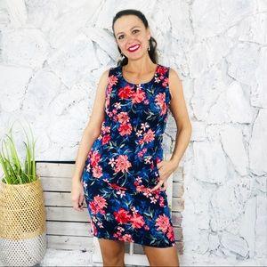 Lands' End Floral Hawaiian Sheath Dress Sz 4
